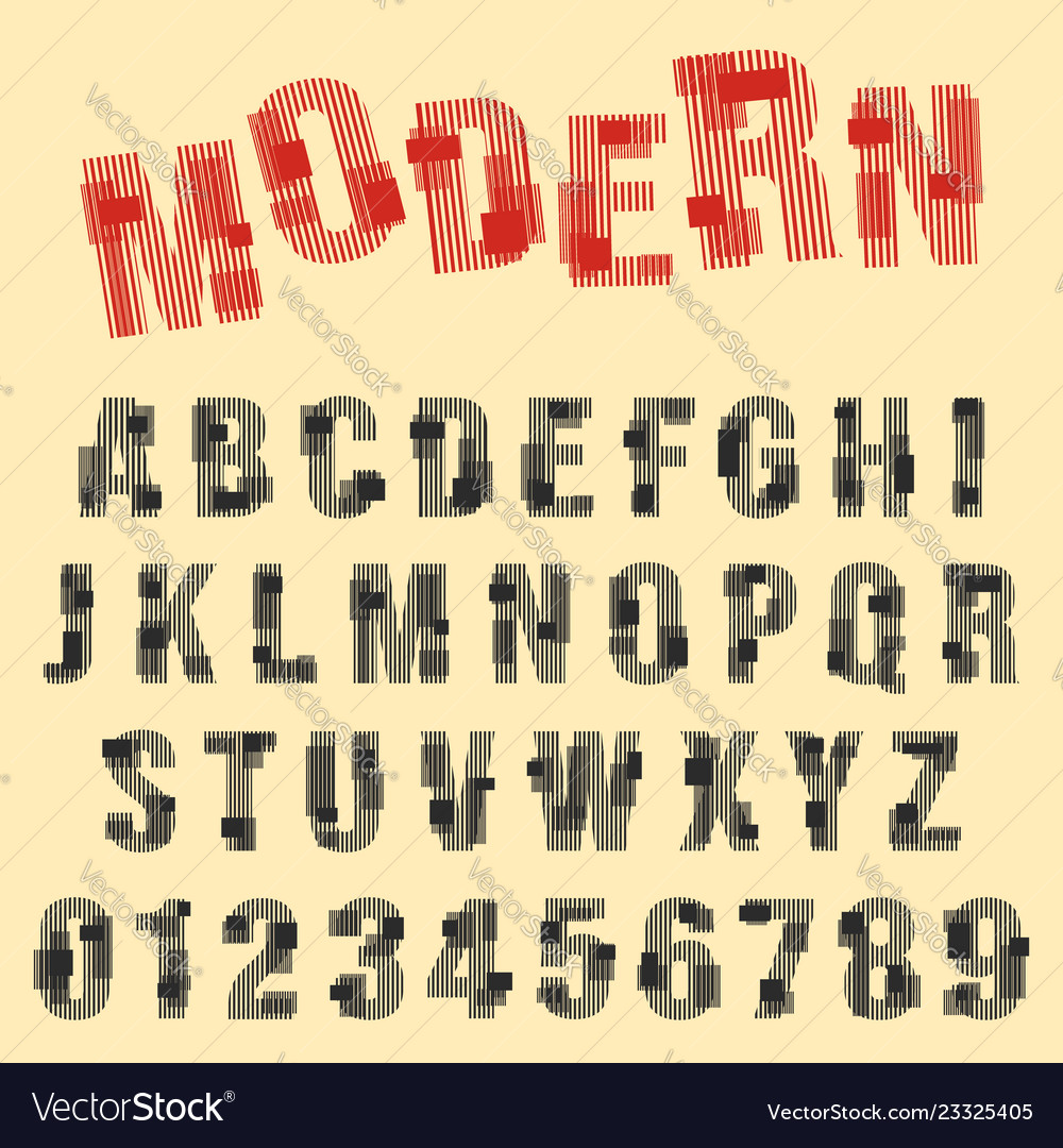 Modern font alphabet set of letters and numbers
