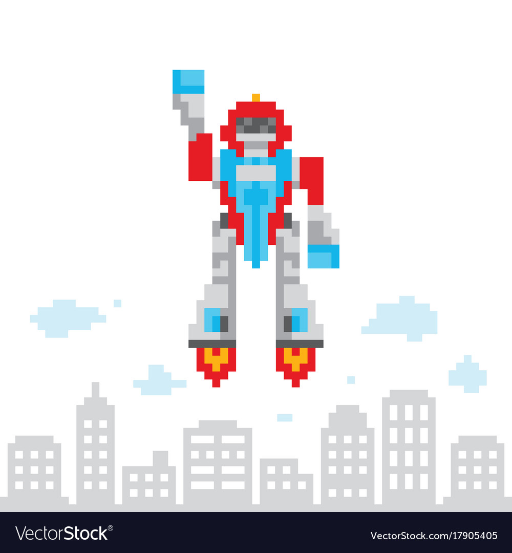 Pixel art retro game style cartoon flying robot