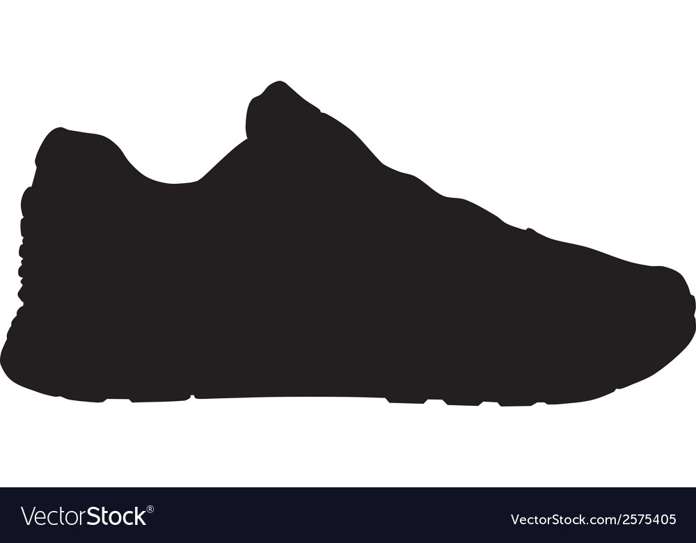 Running shoe - sneaker silhouette Royalty Free Vector Image 0a589b971