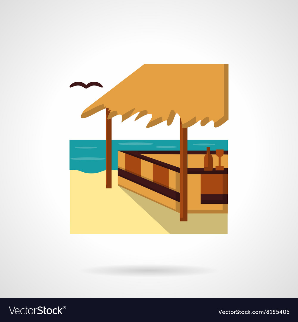 Sea terrace flat color design icon