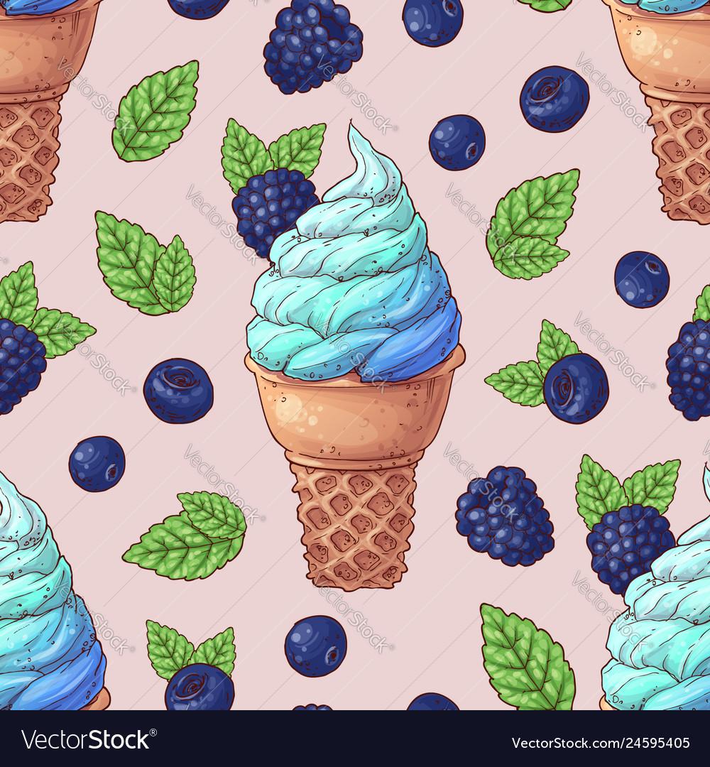 Seamless pattern ice cream wild berries