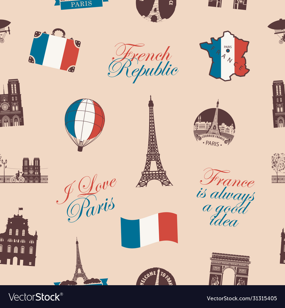 Seamless pattern on france and paris theme