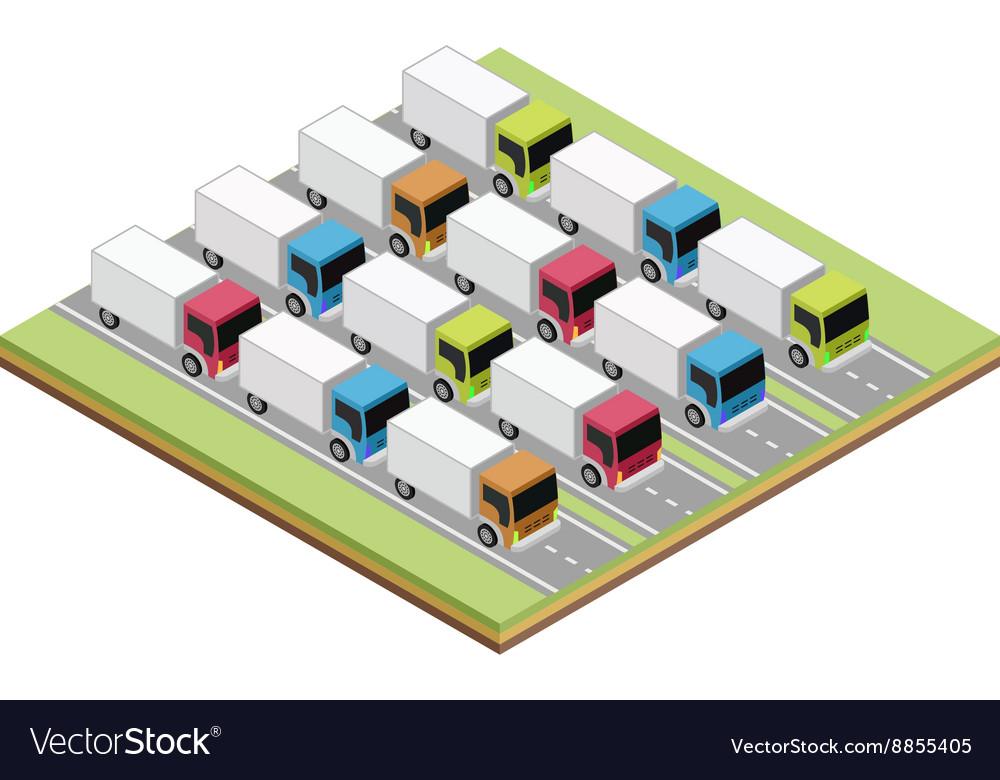 Set of isometric trucks