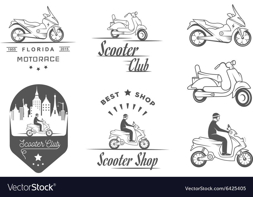 Set Vintage Sign and Logos Scooter