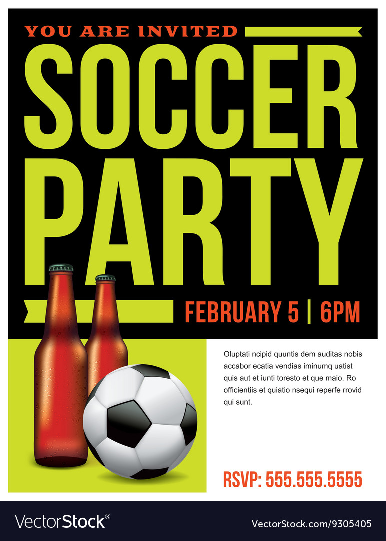 Soccer Party Invitation Flyer Template Royalty Free Vector