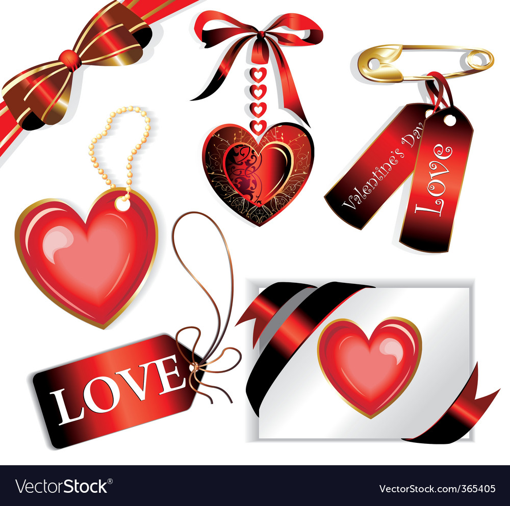 Vector set with valentines sig