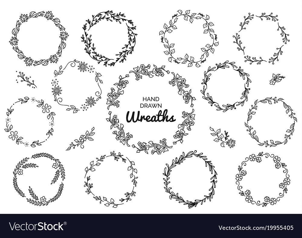 Vintage set of hand drawn rustic wreaths floral