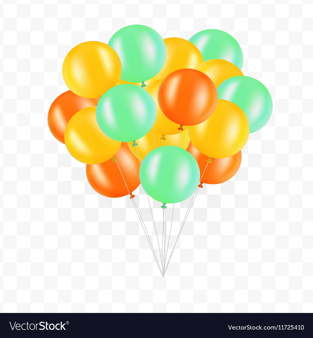 Balloons on transparent background Bunch of vector image