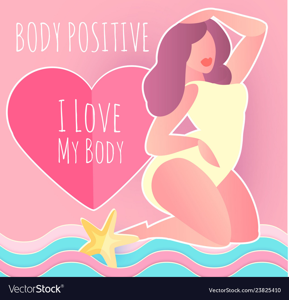 Body posirive happy and beautiful plus size girl