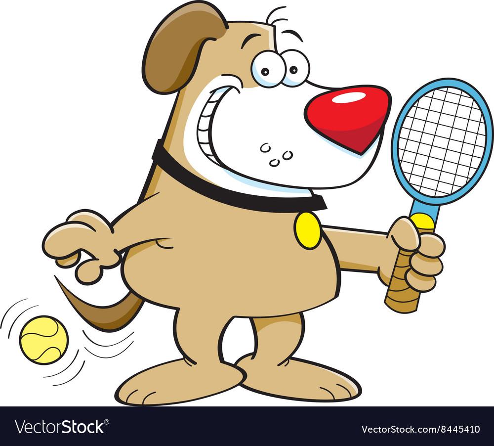 cartoon dog playing tennis vector image