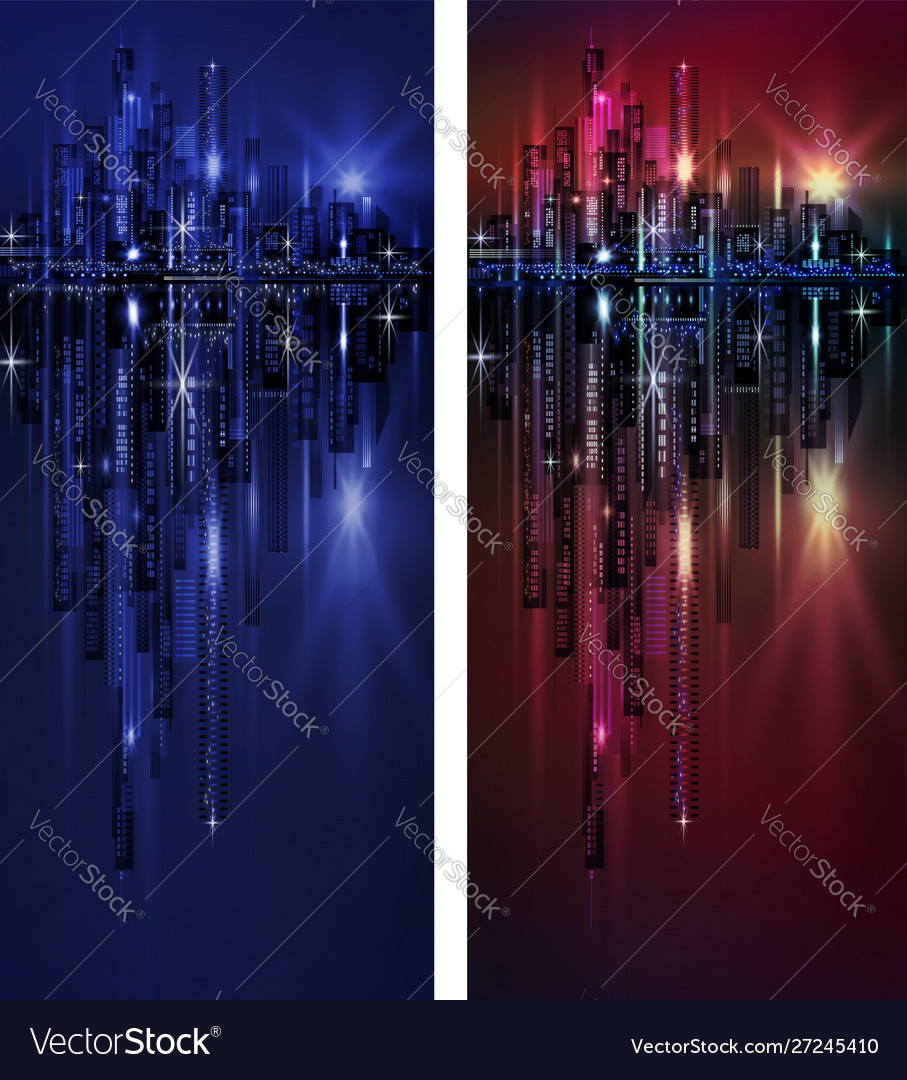 City skyline at night vertical banner