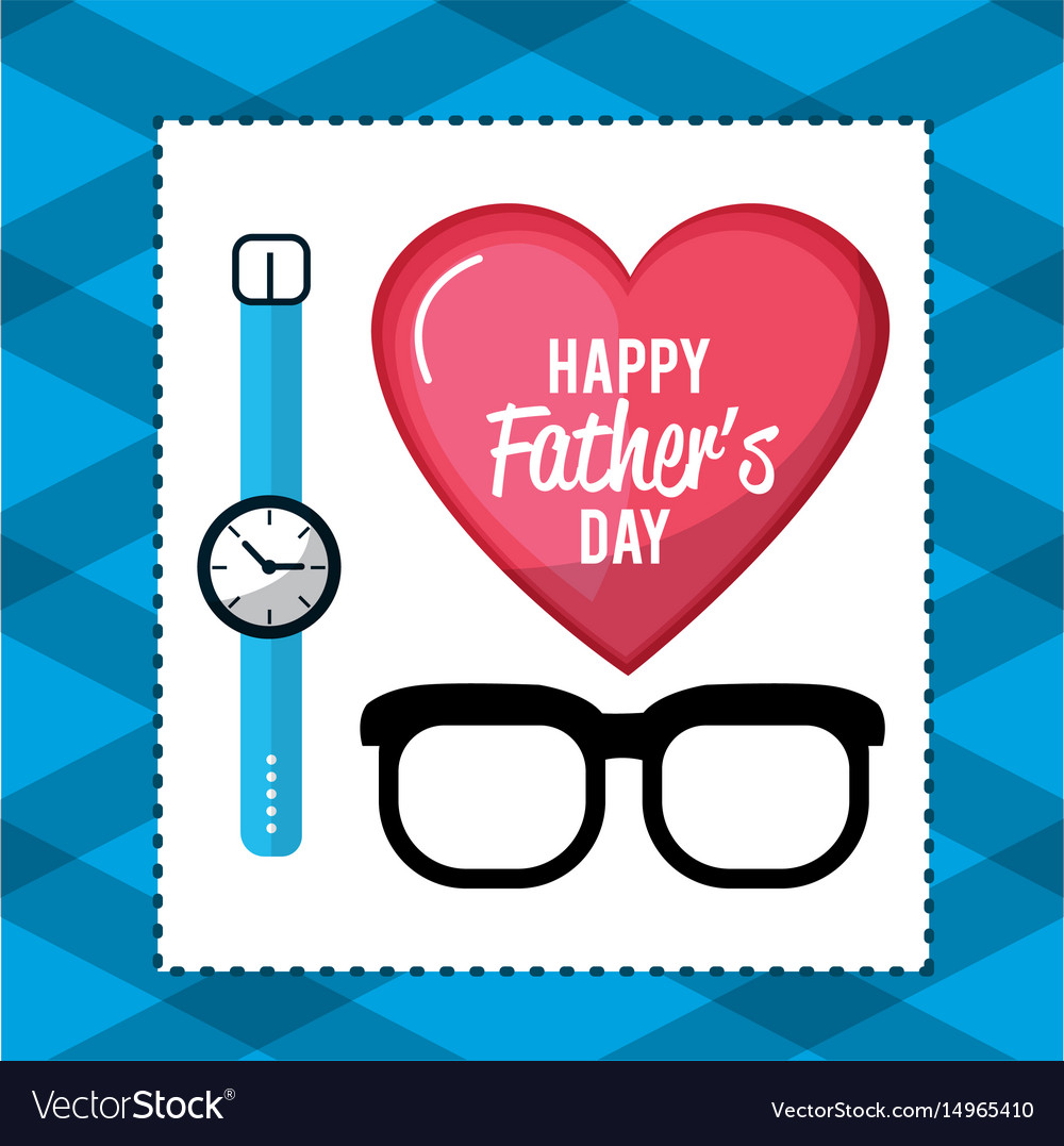 Father day card with glasses and watch decoration