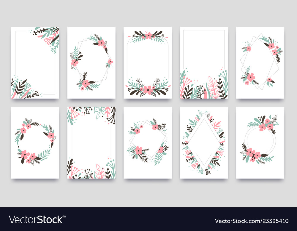 Floral ornament invitation card willow leafs