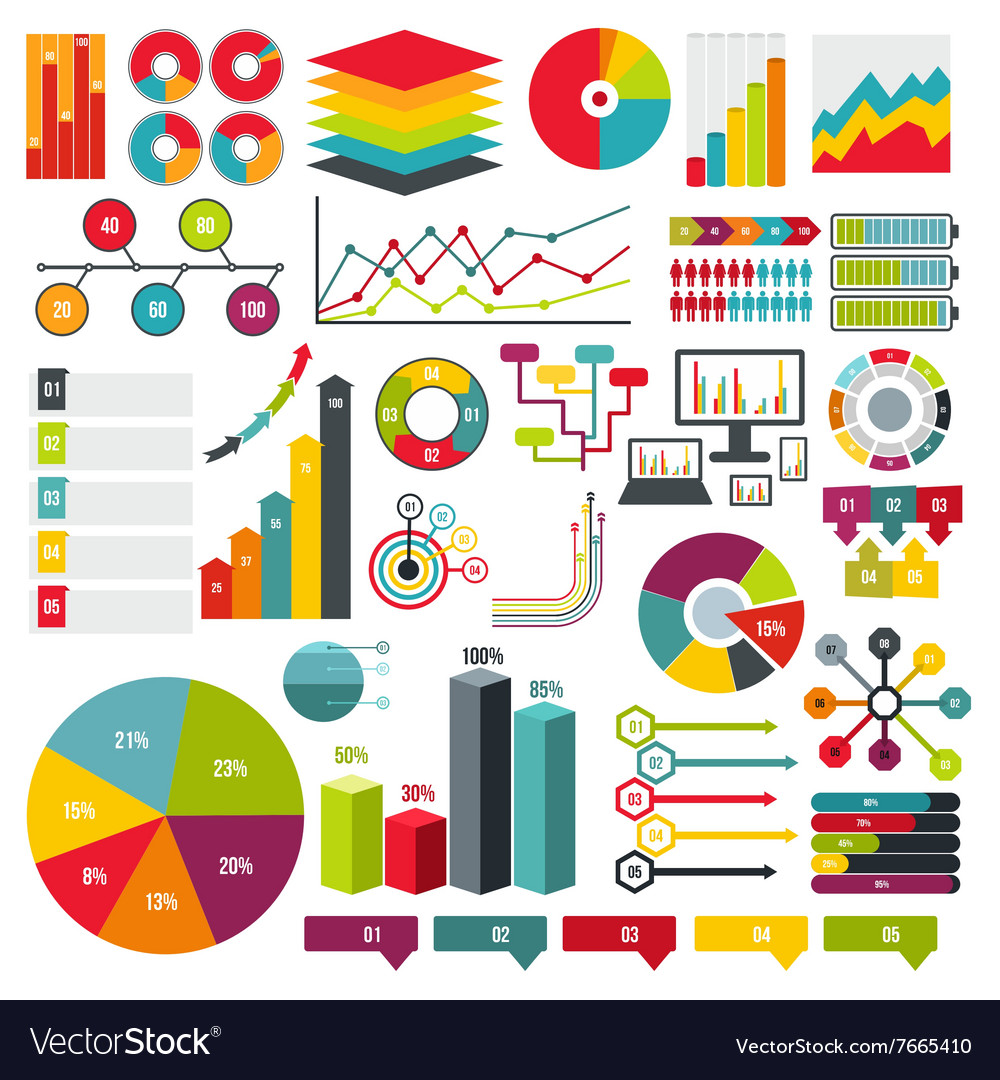 Infographics elements set flat
