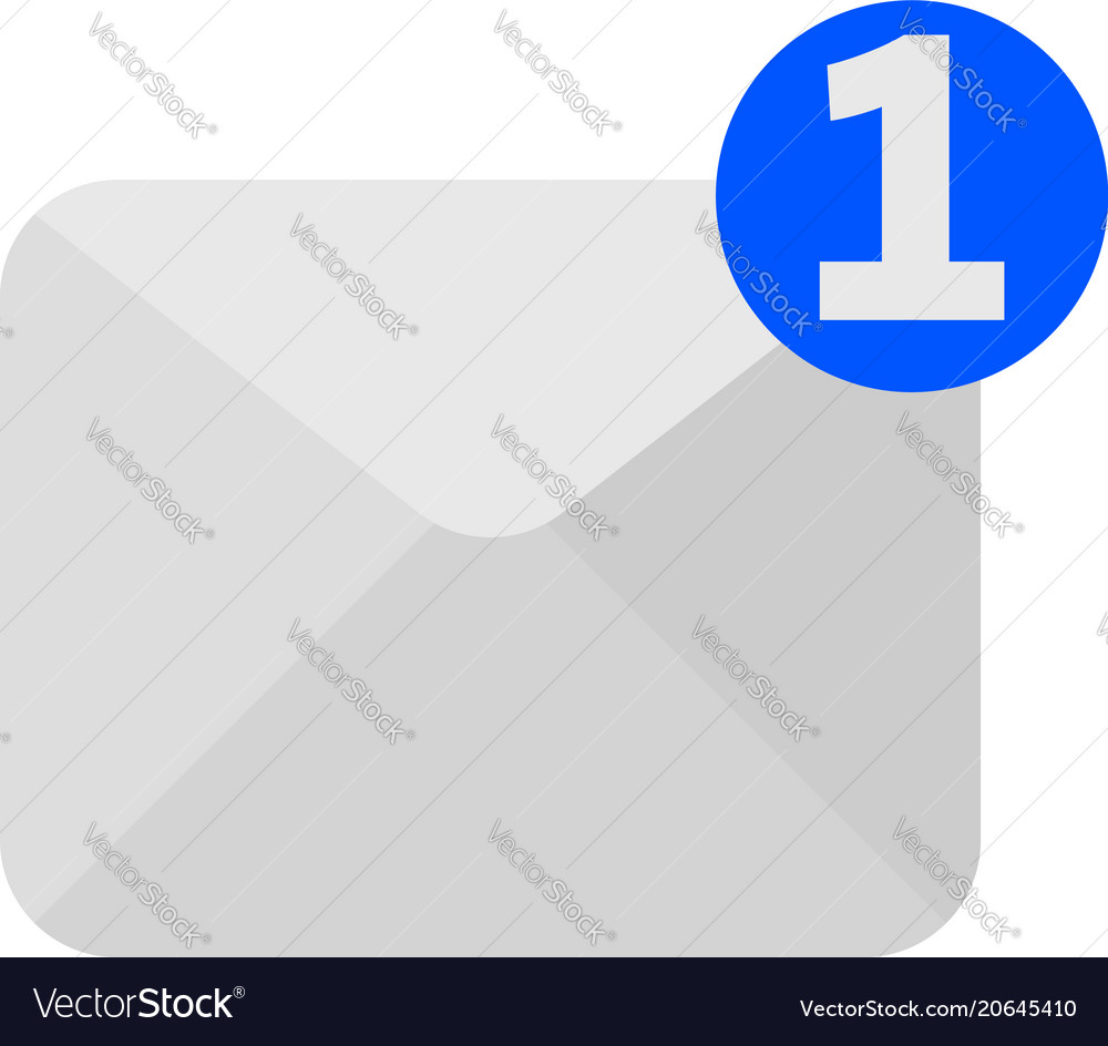 One new incoming message envelope icon vector image