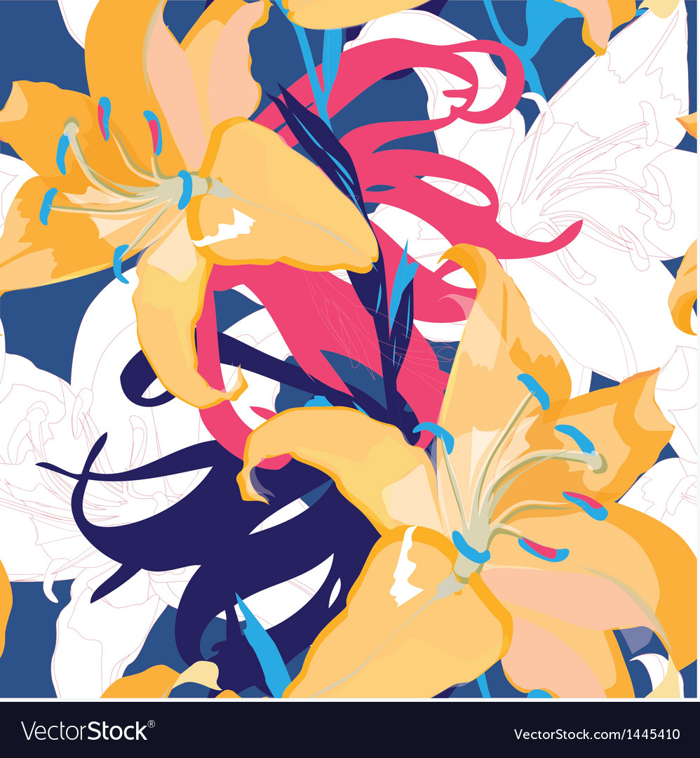 Seamless blue design with lily vector image