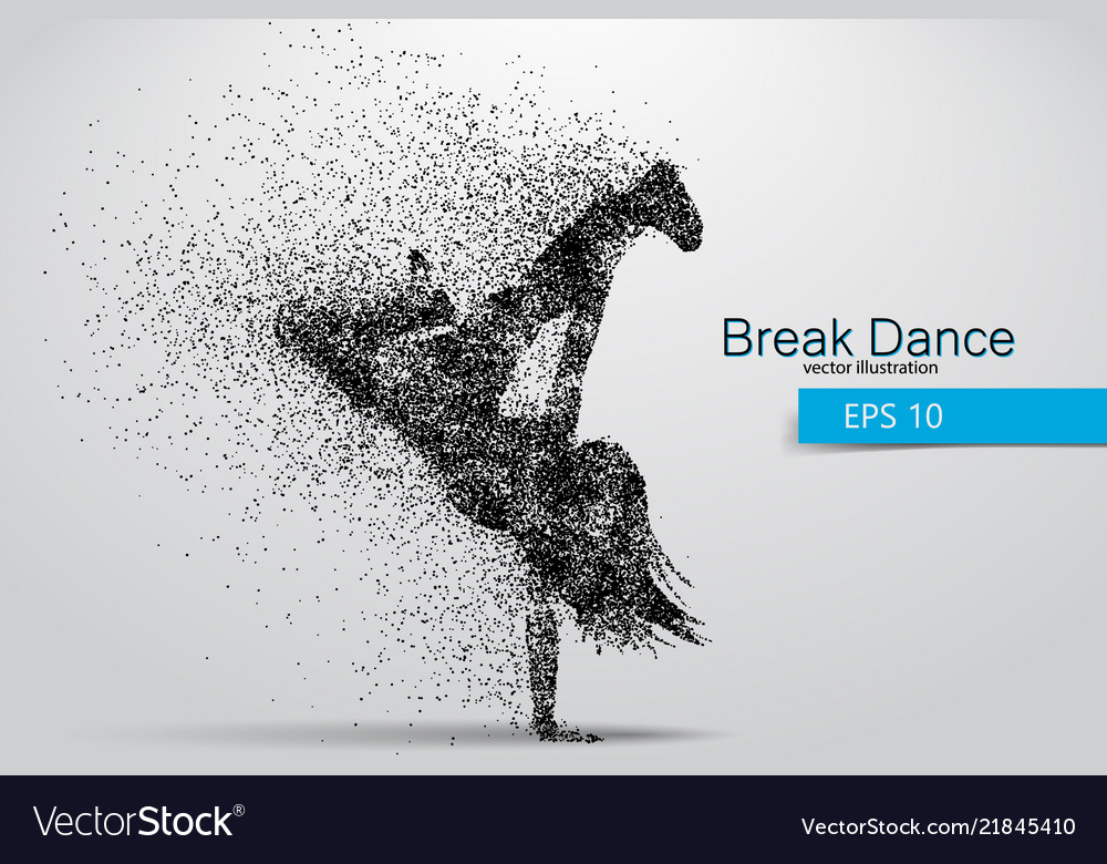 Silhouette of a break dancer from particles