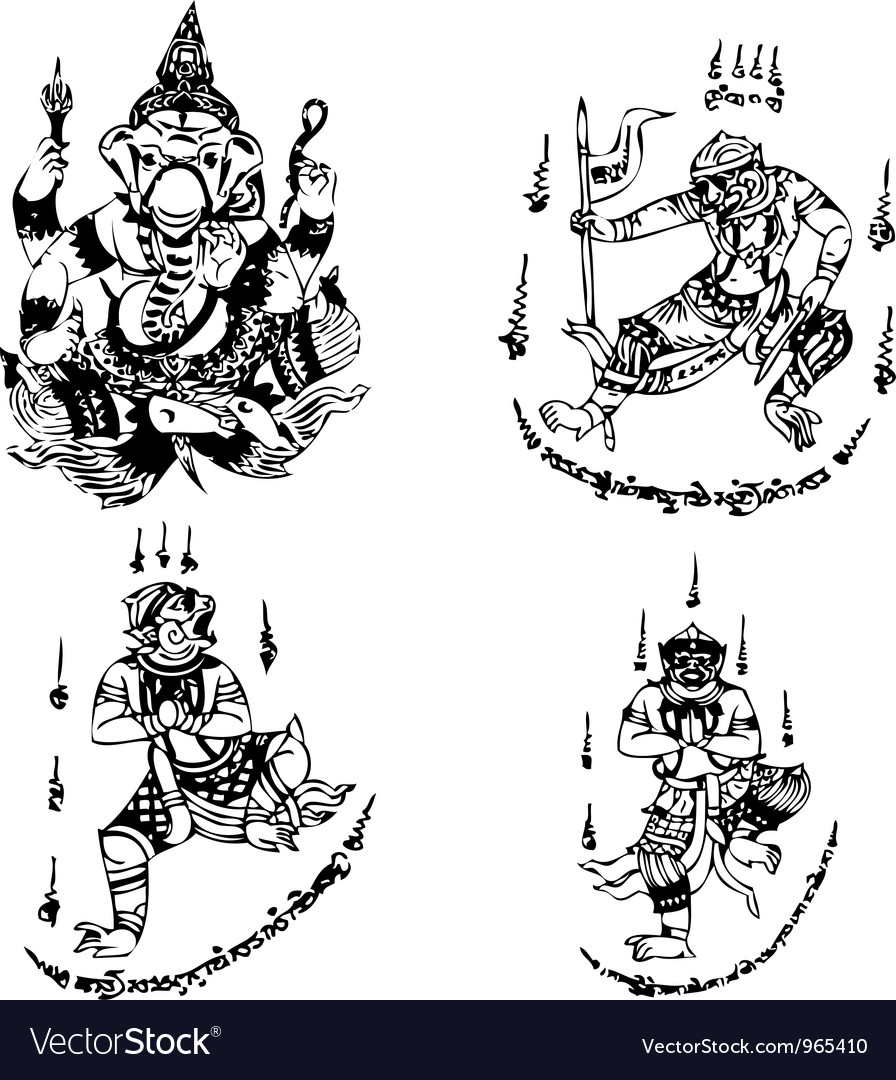 Thai Tattoo Ancient template Royalty Free Vector Image