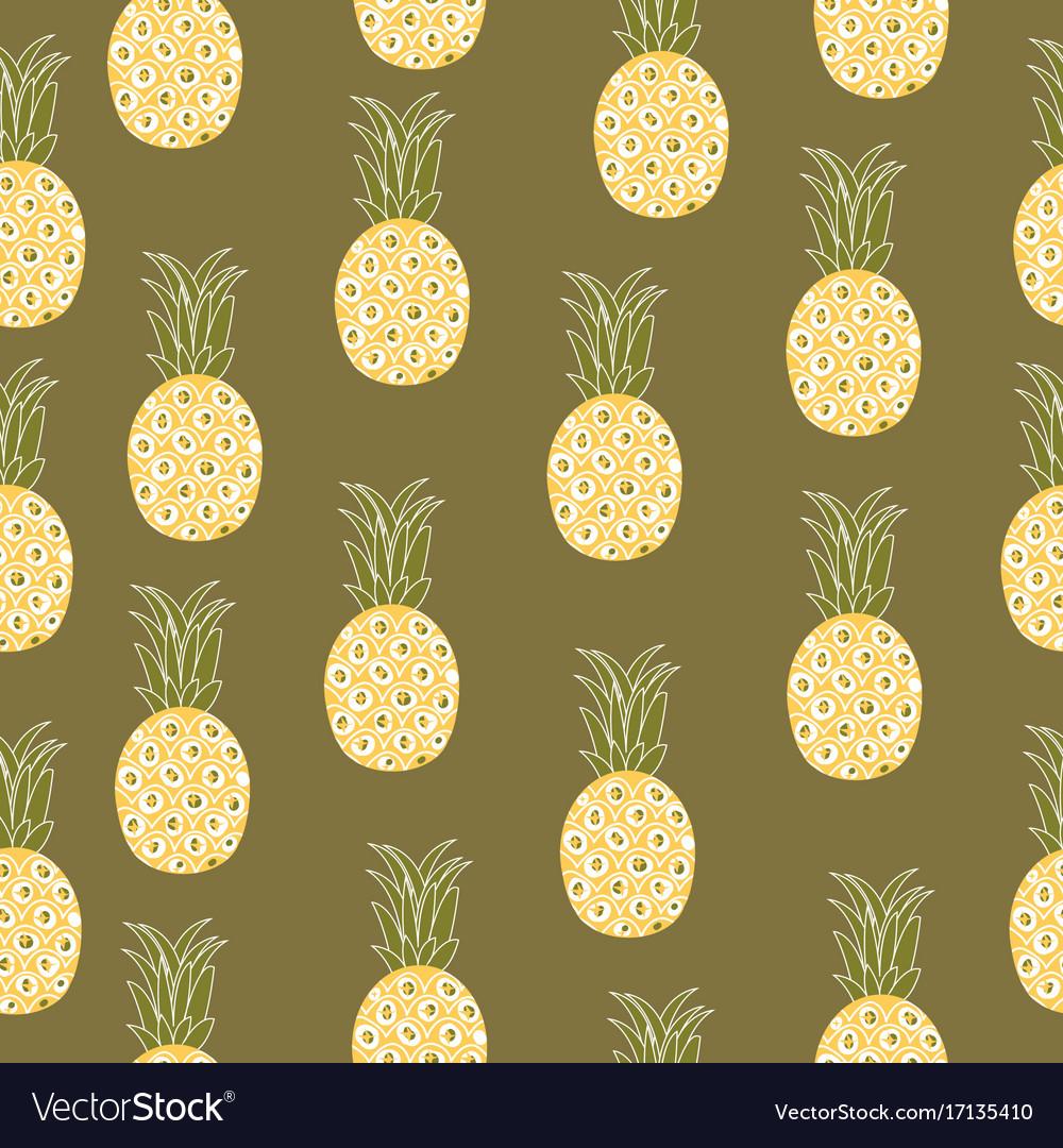 Vintage pineapple seamless pattern retro style