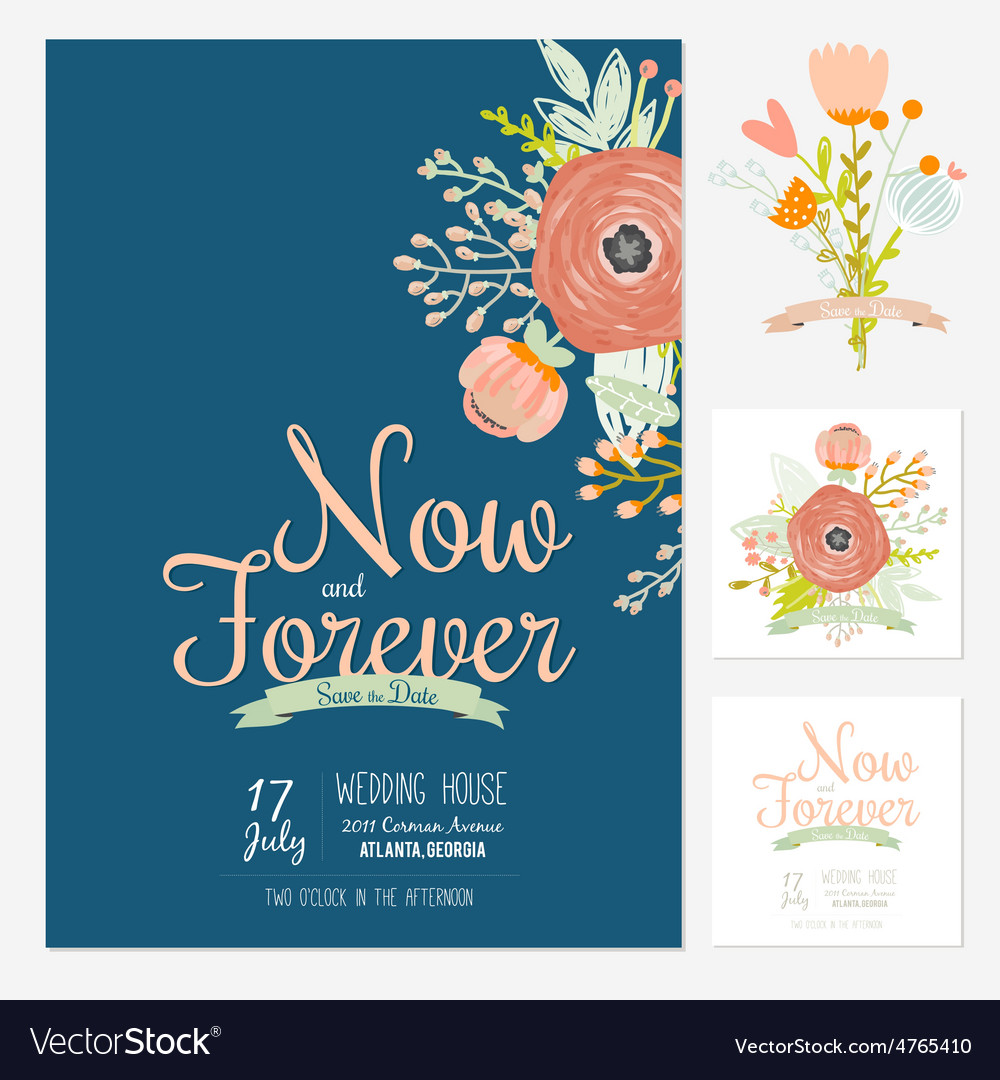 Wedding romantic floral save date invitations vector