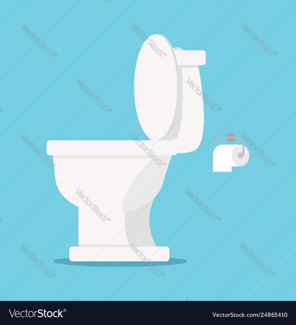 White toilet flat style