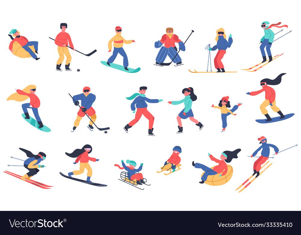 Winter snow activities skiing snowboarding