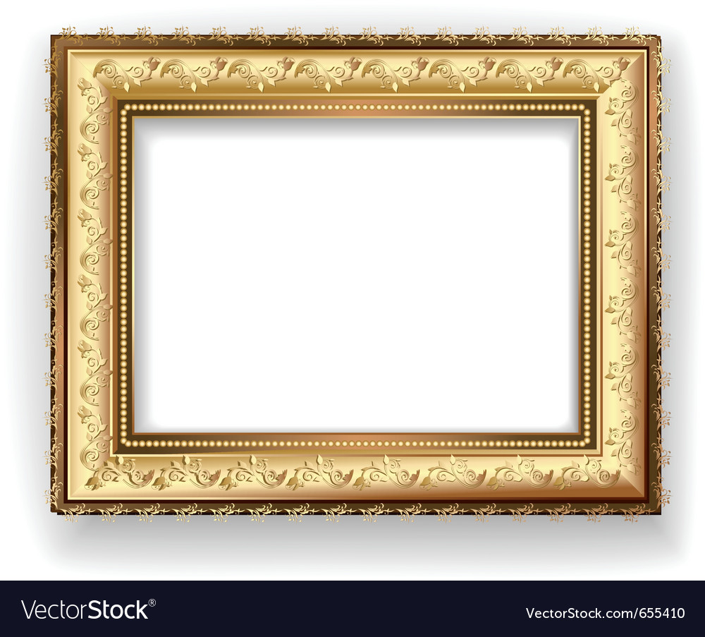 wooden vintage gold frame royalty free vector image