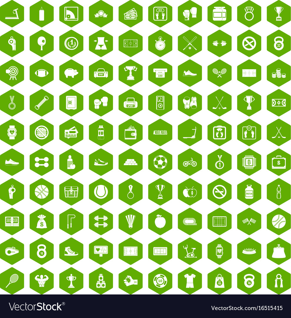100 basketball icons hexagon green vector image