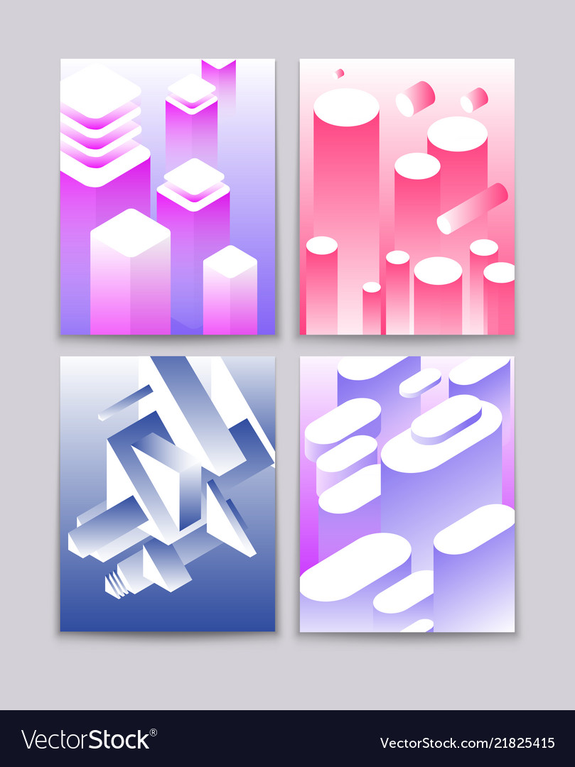 Abstract 3d shapes cool gradient isometric shapes