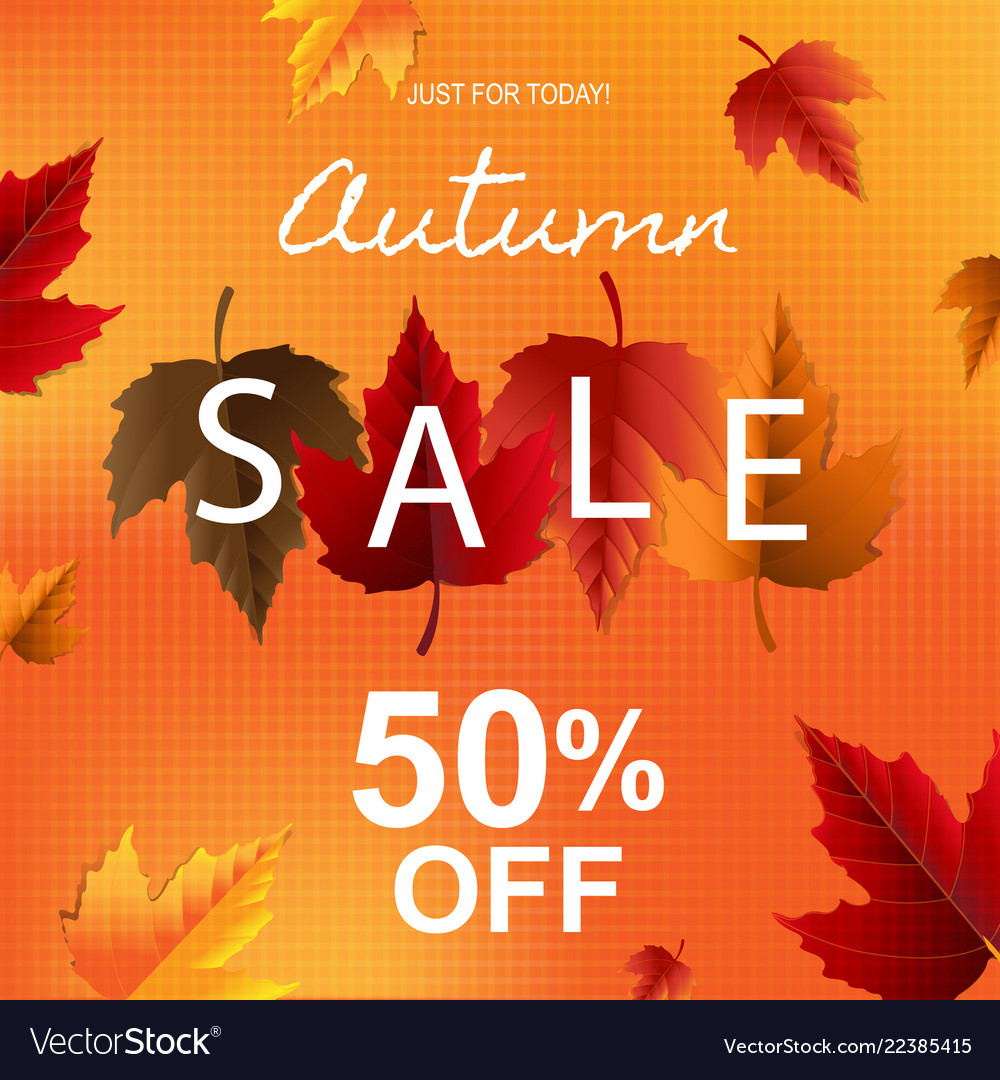 Autumn poster with leaves and persent