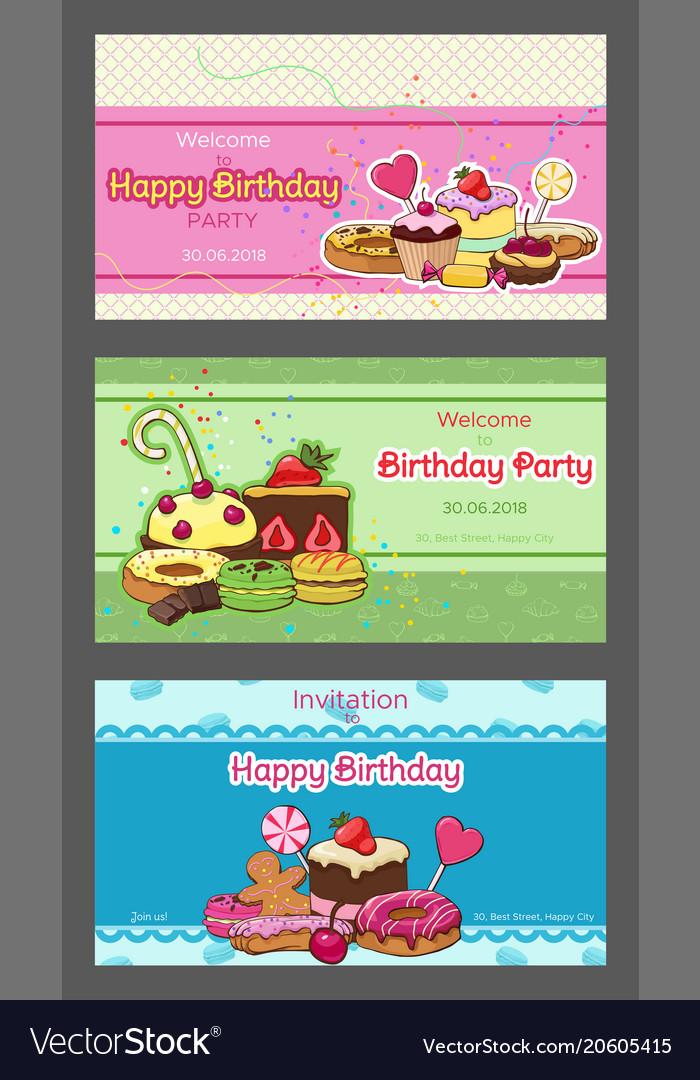 Birthday party horizontal invitation postcards vector image filmwisefo