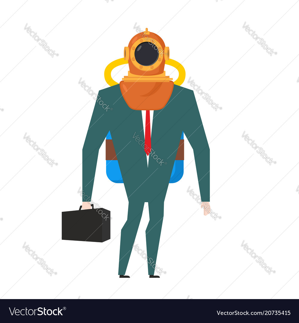 Businessman is diver deep-water suit and oxygen