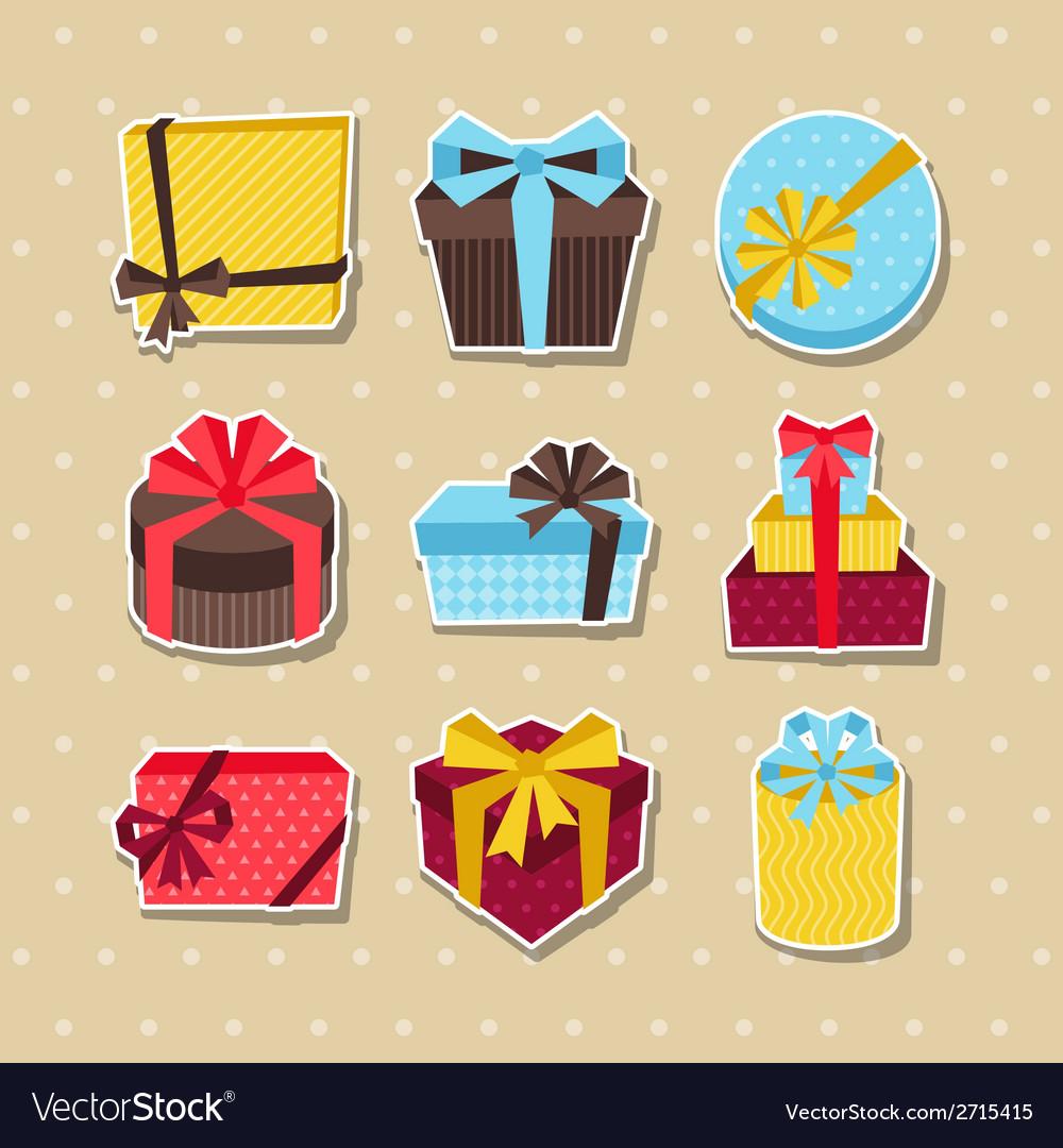 Celebration sticker icon set of colorful gift