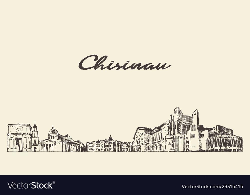 Chisinau skyline city moldova drawn sketch