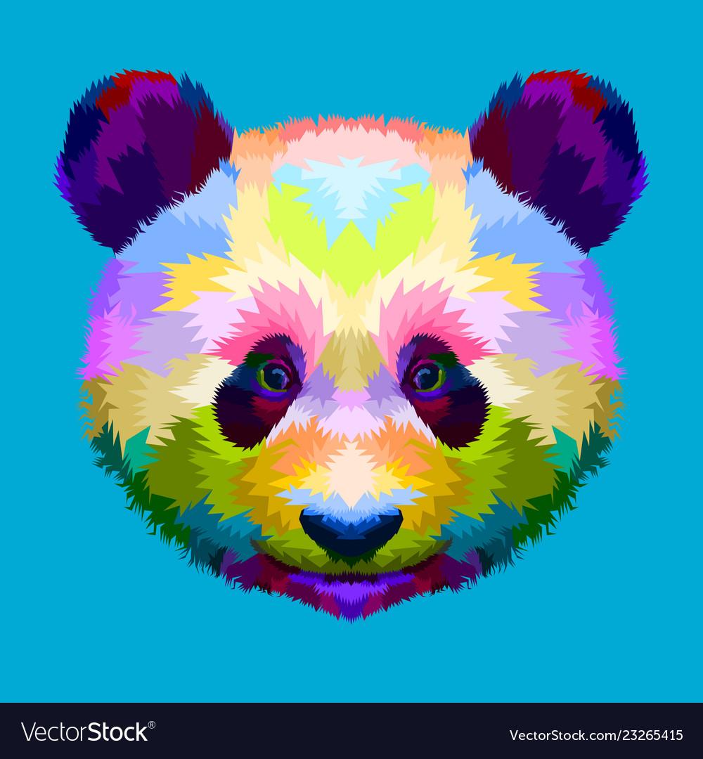 Colorful panda head on geometric pop art style