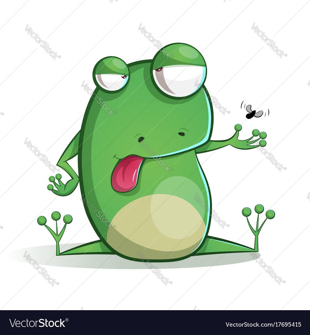 cute funny frog cartoon royalty free vector image rh vectorstock com Cute Frogs Turtle Vector