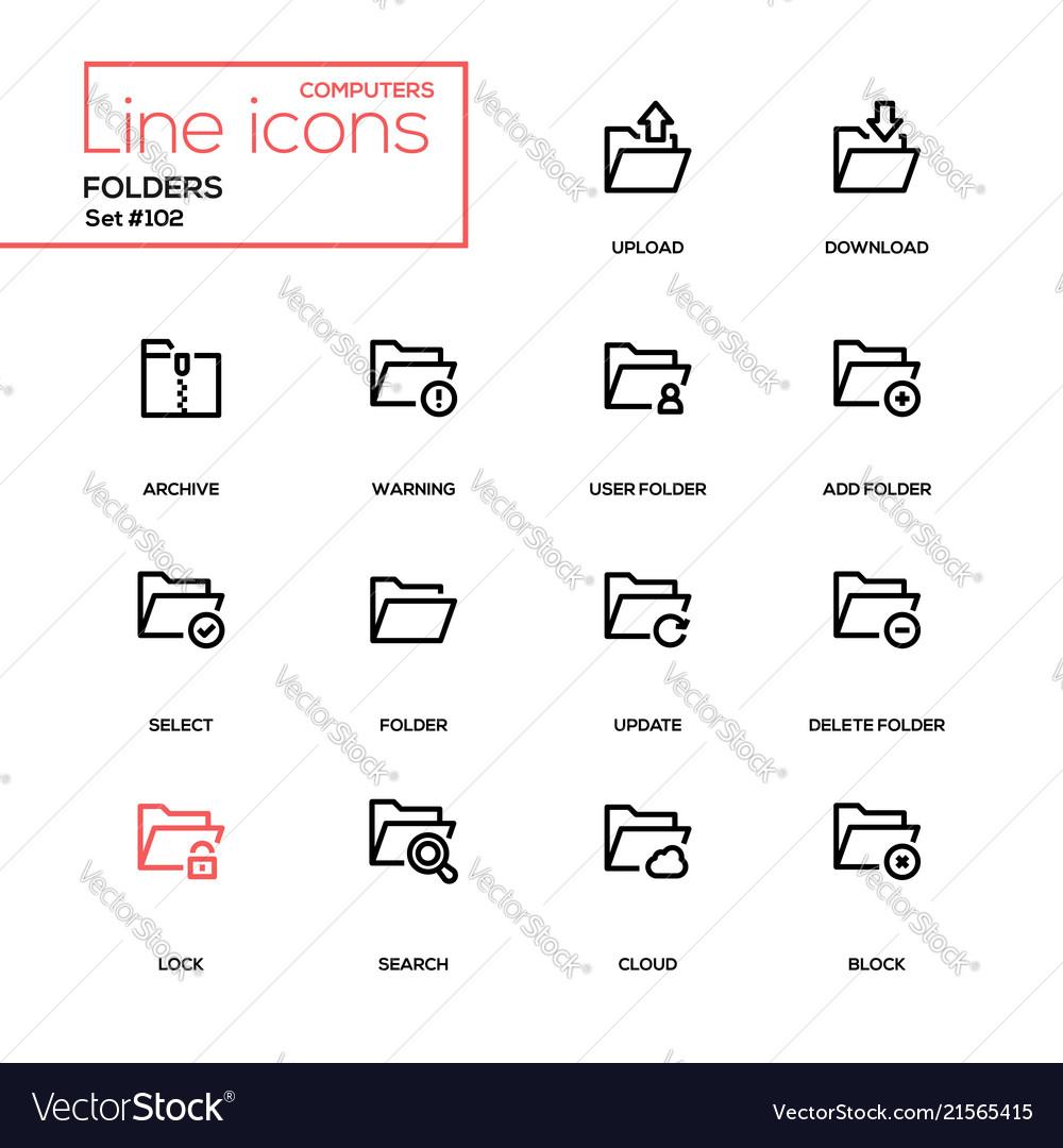 Folders - modern line design icons set