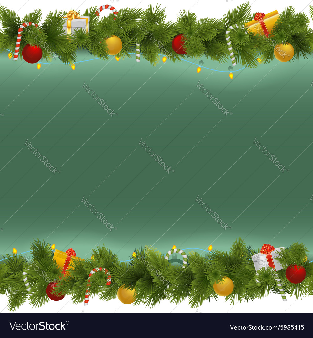 Green Christmas Background with Garland