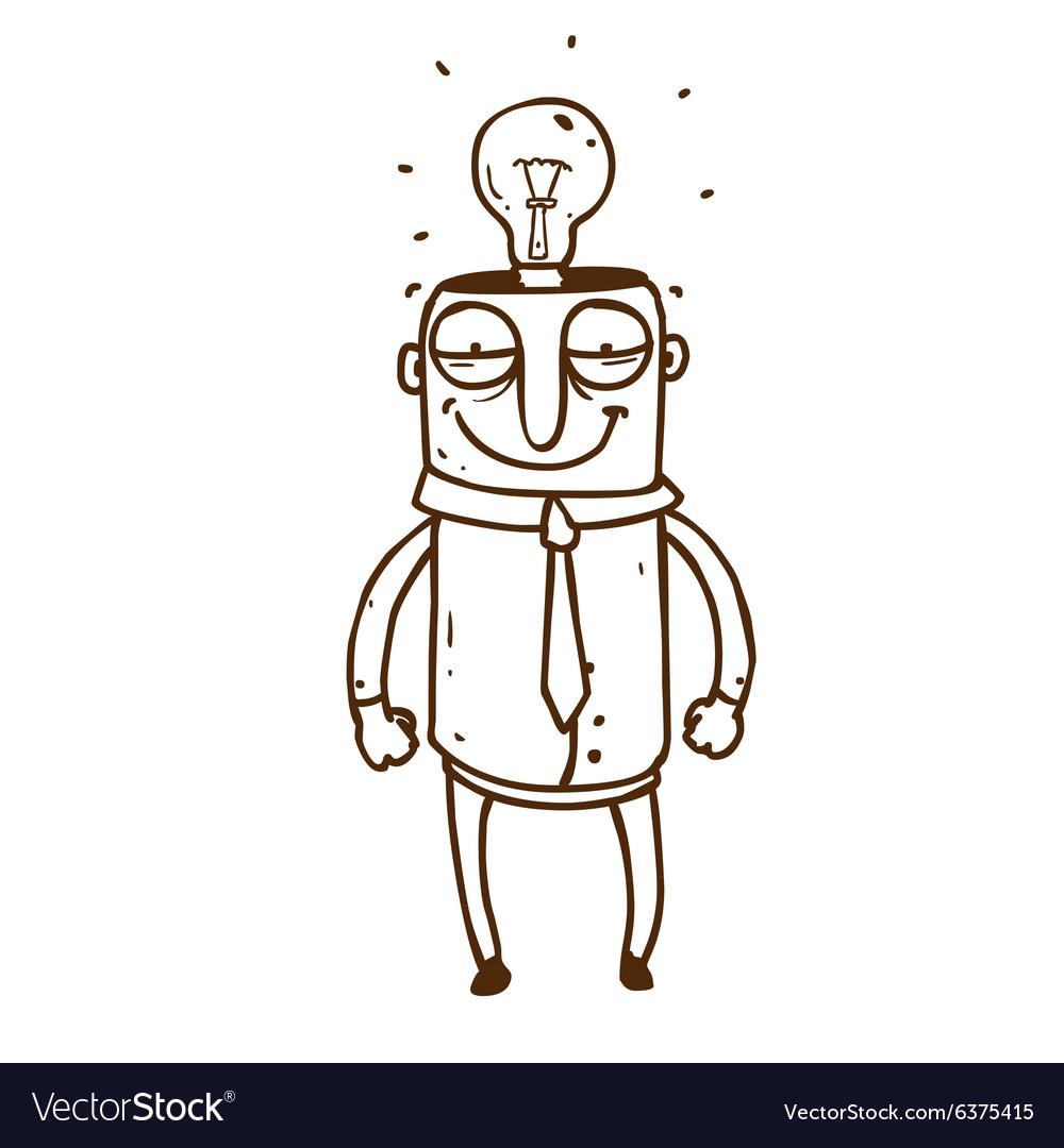 Hand Drawn Man with a Bright Idea