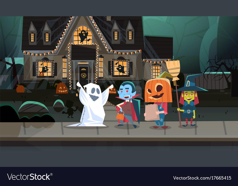 Kids wearing monsters costumes walking in town