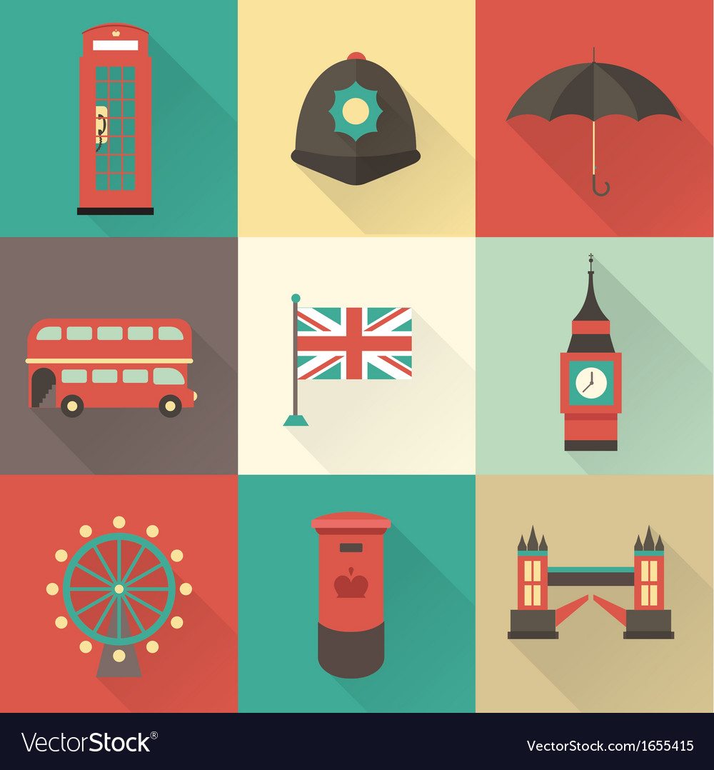 London vintage icons vector image