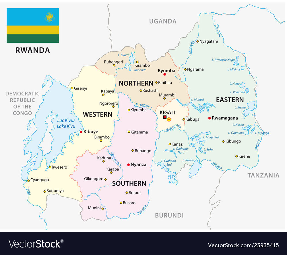 Rwanda administrative and political map with flag