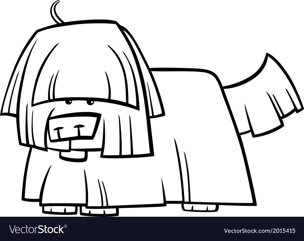 Shaggy dog cartoon coloring page Royalty Free Vector Image