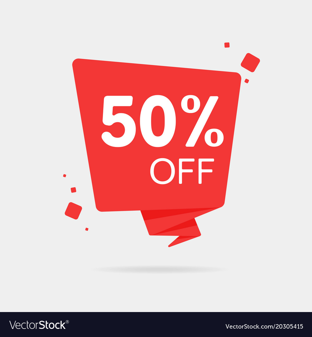 Special offer sale red tag 50 off isolated