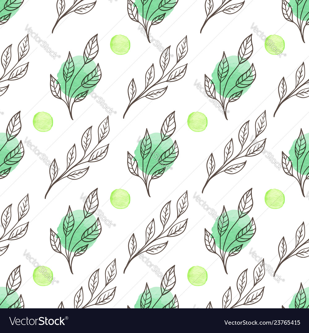 Spring floral seamless pattern with leaves