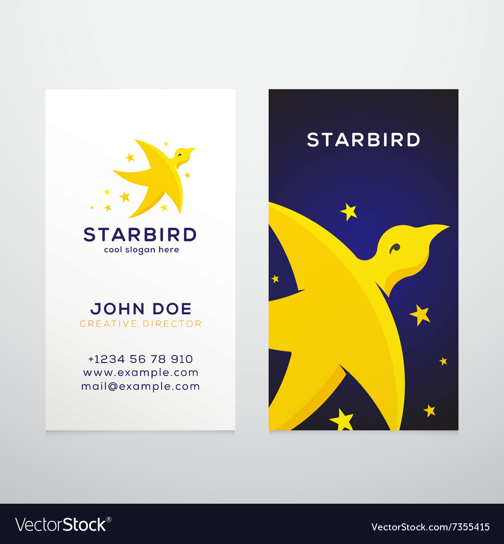 Star Bird Abstract Business Card Template Vector Image