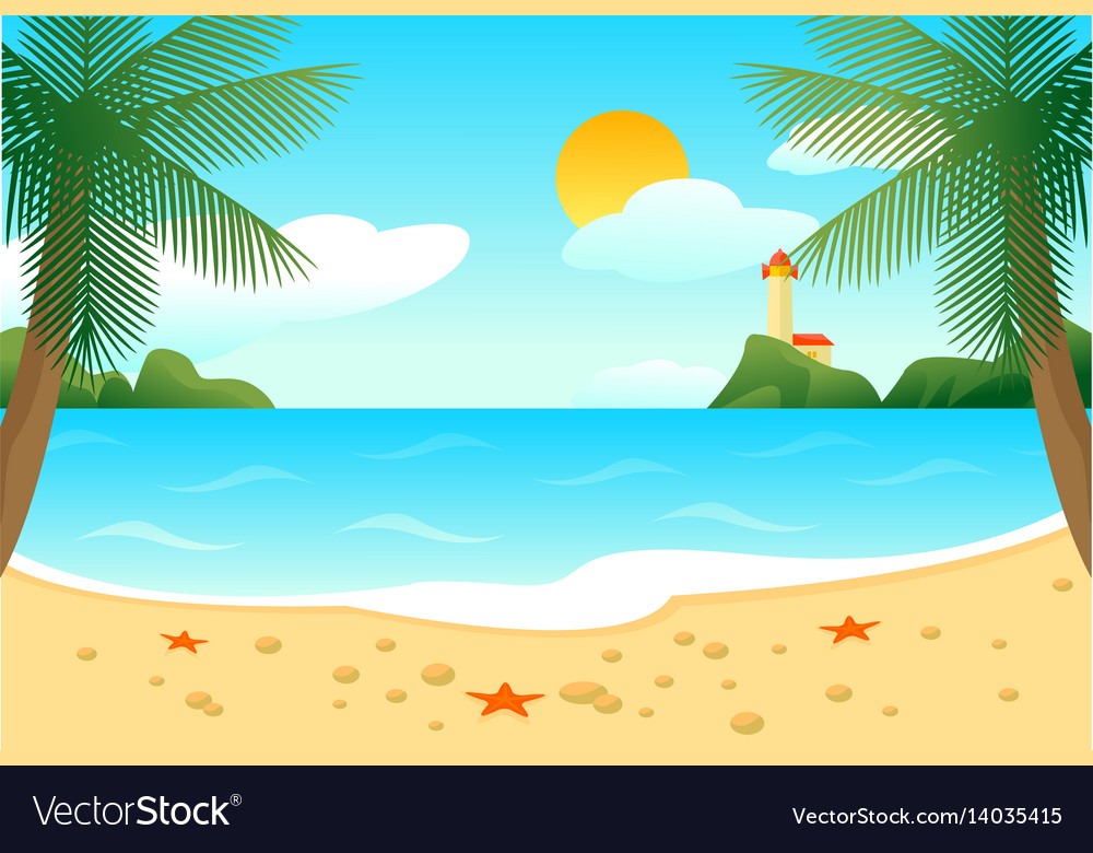 Tropical beach landscape template vector image