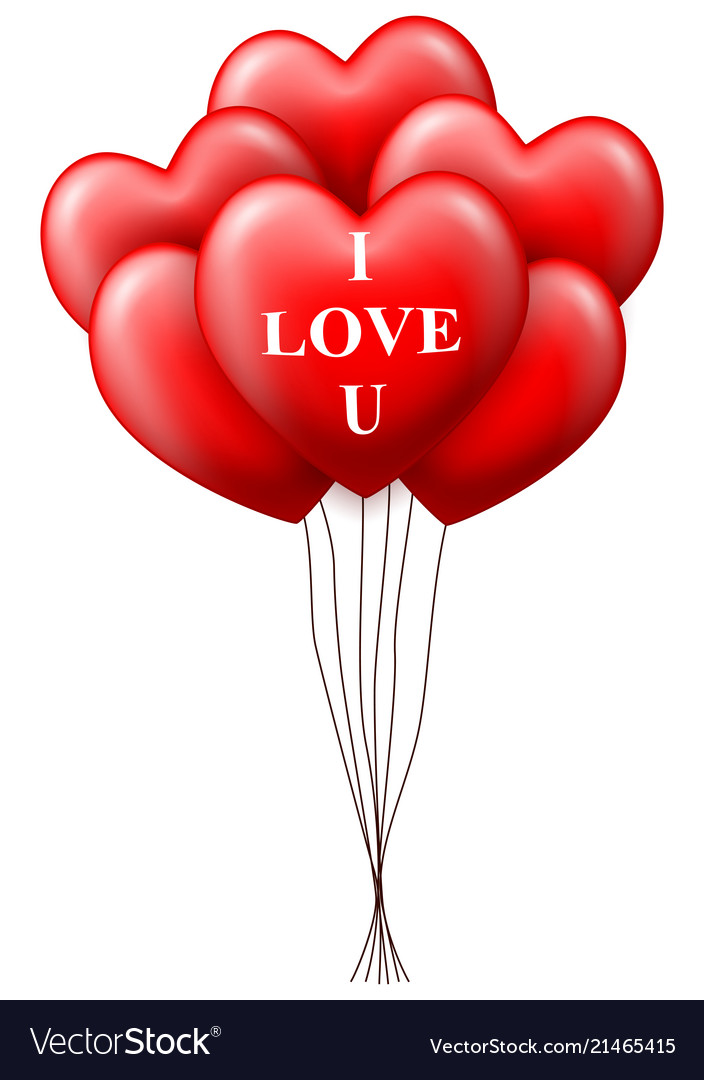 Valentines day heart balloons isolated on white b
