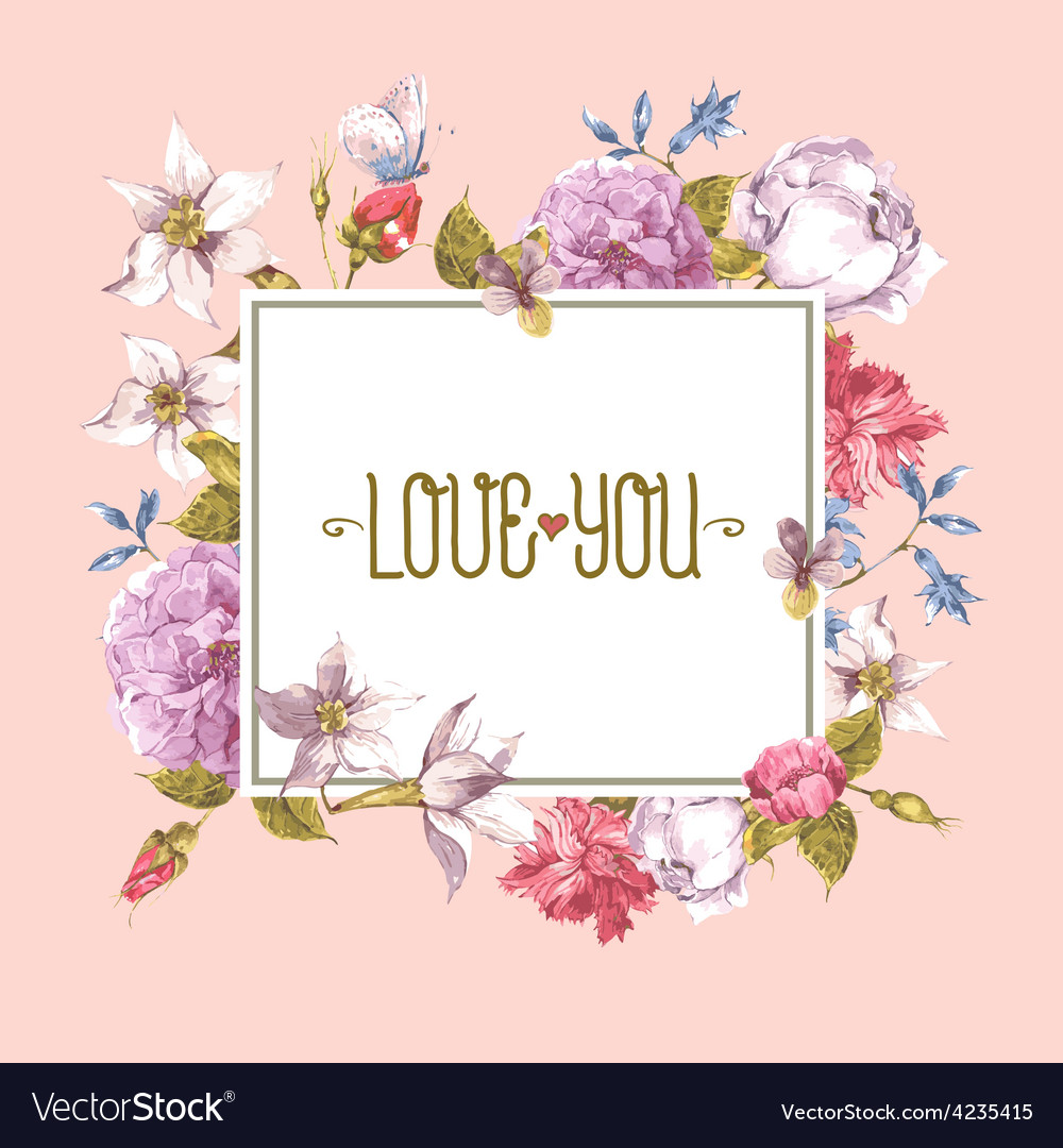Watercolor greeting card with blooming flowers vector