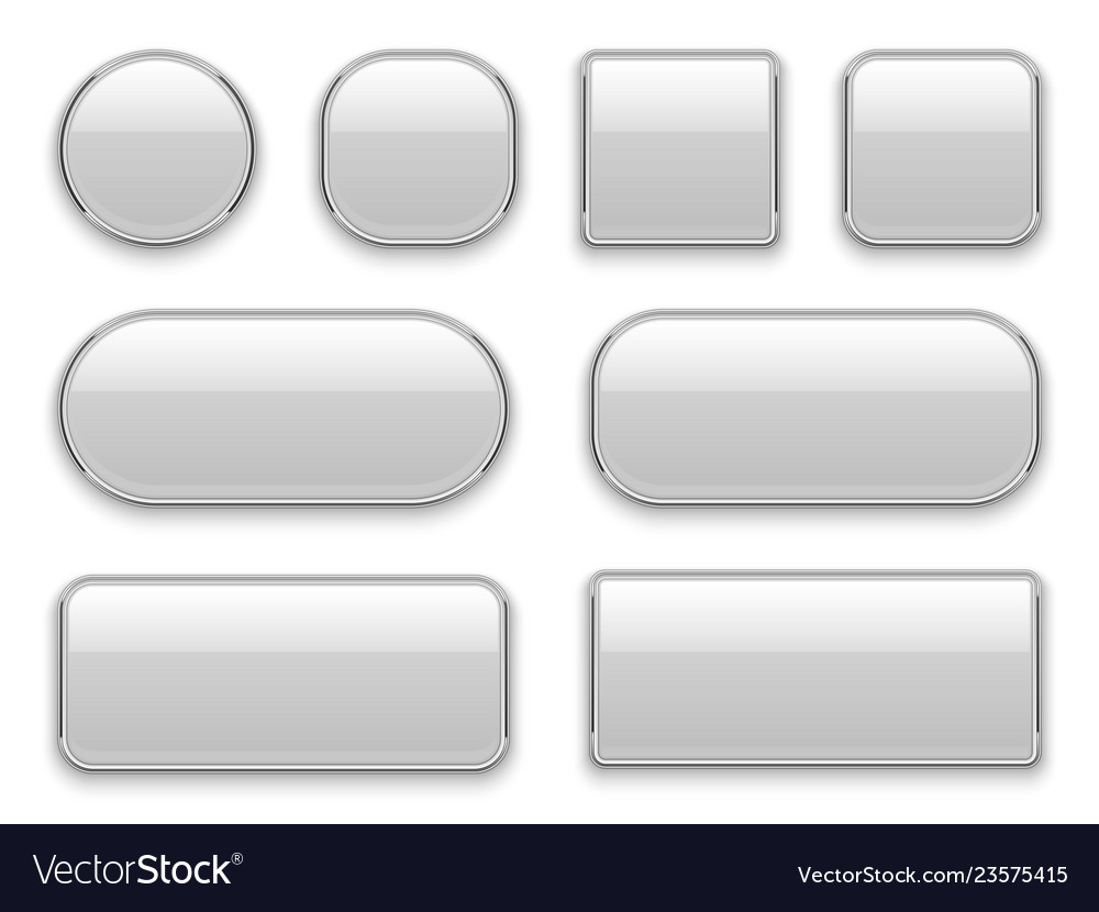 White buttons chrome frame 3d realistic web glass